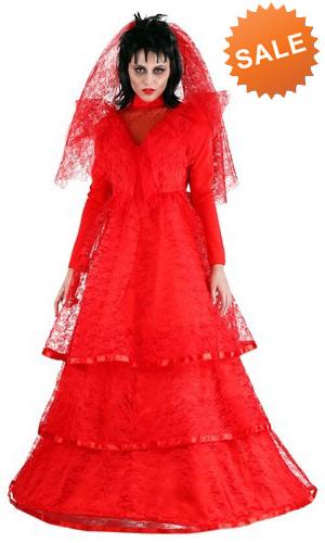 Lydia Deetz Red Gothic Wedding Dress Costume