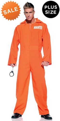 Men'sPlus Orange Prisoner Jumpsuit