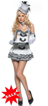 Deluxe Sexy White Cigarette Girl Costume for Halloween