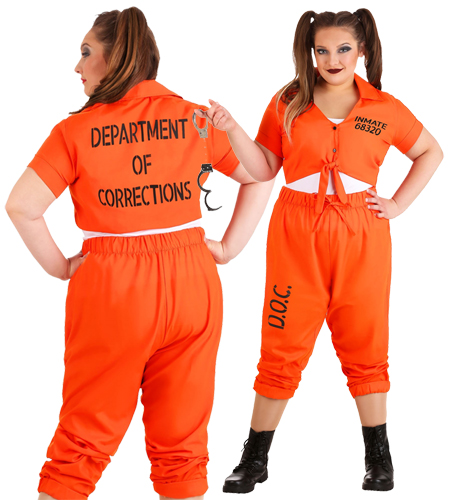 Women's Plus Size Orange Prisoner Jumpsuit Costume