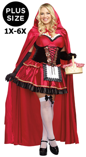 Sexy Plus Size Little Red Riding Hood Dress Costume