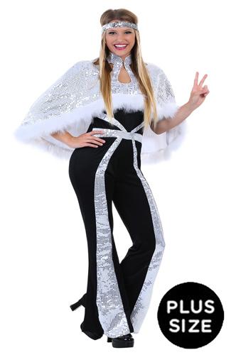 Plus Size Silver Disco Costume ABBA