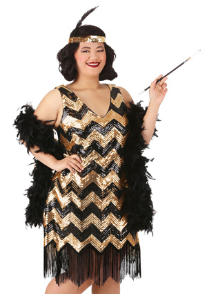 plus womens dolled up flapper dress